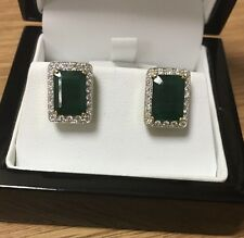 18ct Yellow Gold Emerald And Diamond Earrings With Certificate For £3495