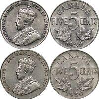 1929 & 1930 Canada Five Cents, KM# 29, Lot of 2 Lustrous AU Coins