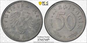 Germany 1943-G 50 Pfennig with Swastika, KM-96, PCGS MS64