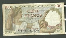 1940 France Banknote 100 Francs Currency Note P94 Paper Money Cent Francs