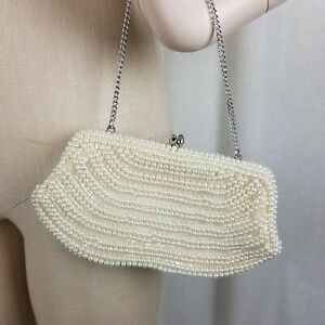 Vintage Beaded Pearl Purse Japan Ivory Handbag Metal Chain Wedding Formal Prom