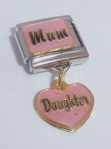 MUM DAUGHTER Italian Charm I Love My Mother Girl Pink Heart 9mm Classic Size