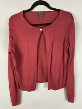 Massimo Dutti Size 14 Burgundy Berry Cardigan Silk Cotton Blend Single Button