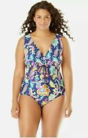 New Anne Cole Women Plus Size 22W Paisley Halter One Piece Deep Plunge Swimsuit