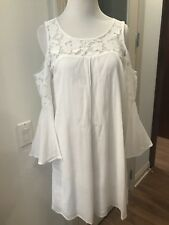 White bell 3/4 Sleeve Loose Fit Mini Dress Lace Detail Wedding Lined Bnwt  XS/ S