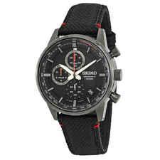 Seiko Chronograph Black Dial Black Nylon Men's Watch SSB315P1