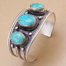 Light blue 3 Beads Oval Turquoise Stone Cuff Bracelet Old Tibet Silver Bangle