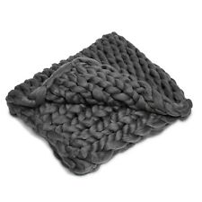 Chunky Gray Knit Polyester Throw Blanket 40 x 60 Comfortable Bed Large Chair