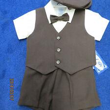 Lito boys 2T 4pc set,brown short pants and vest, ecru shirt.new/wtags