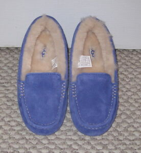 NWOB UGG AUSTRALIA SAPPHIRE BLUE LEATHER ANSLEY 5 SHEARLING MOCCASIN SLIPPERS
