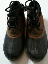 DEXTER Mens Size 8 Duck Boots Brown Rubber Suede Thinsulate Steel Shank Lace Up
