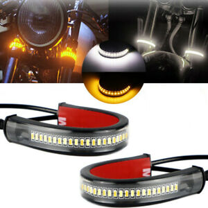 2X Motorcycle Flowing Amber LED Fork Turn Signal Strip Light For Honda Suzuki