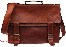 """Men's Goat Leather Vintage Brown Flap Messenger Shoulder Laptop Bag 17"""" Inch New"""