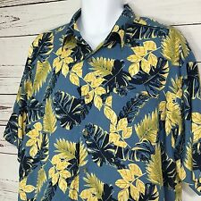 PURITAN Hawaiian Shirt Blue Yellow Aloha Leaves 100% Rayon Men's XL Extra Large
