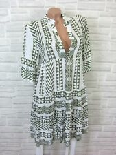 NEU Blogger Hängerchen Kleid Tunika Volant Print 36 38 40 42 Weiß Khaki K176