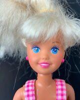 Barbie Stacie Doll Vintage 1990s Denim Overalls Shorts White Hair Bangs Earrings