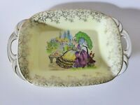 Portland Pottery Crinoline Lady Bowl, 1940s Chintz Serving Bowl, Made in England
