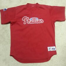 PHILADELPHIA PHILLIES  red mesh JERSEY by Majestic    Mens -Med. or Youth -XL