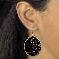 Yellow Gold Tone Was 29.00 Black Crystal Beaded Drop Earrings in