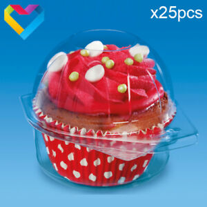 25pcs Plastic Cupcake Single Pods Cases Holders Clear Containers Clam Hinge 2200