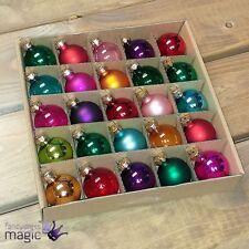Gisela Graham 25 Multicoloured Mini Baubles Christmas Tree Decorations Ornaments