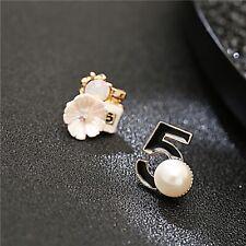New Fashion 5 Letter Big Pearl Earrings Woman Asymmetric Perfume Bottle Earring