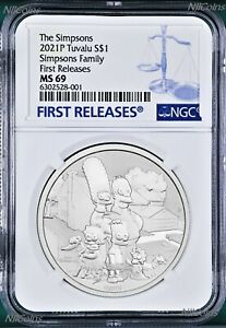 2021 Simpsons Family Simpson $1 1oz .9999 Silver COIN NGC MS69 FR