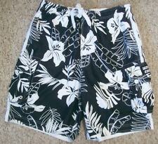 Mens Wave Zone Swim Trunks Hawaiian Hibiscus Cargo Board Shorts L Blk and White