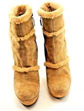 Diane Von Furstenberg Brazil Womens Size 9 Beige Suede Fur Stiletto Boots