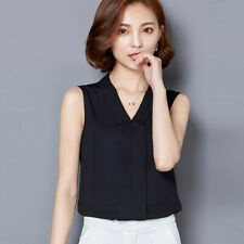 Women Brief Office Work Wear V Neck Shirts Sleeveless Chiffon Tops Blouse CA
