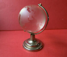 ETCHED FROSTED GLASS TERRESTRIAL GLOBE MOUNTED CHROME STAND DESK PAPERWEIGHT