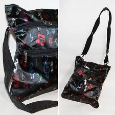Handtasche * MUSIKNOTEN * schwarz-bunt SATIN Handbag Messanger Umhängetasche