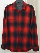 Woolrich Mens XL Cotton Button Front Shadow Plaid Shirt Red Black
