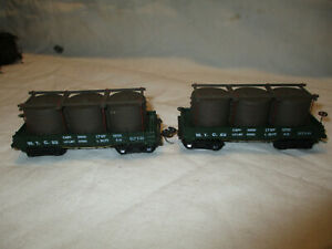 "Vintage HO scale Group 2 wooden gondolas with water containers ""W.T.C."
