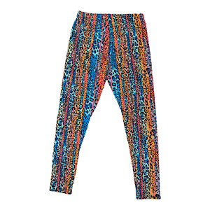 Woman Size M 7-9 Leggings Vertical Ikat Rainbow Leopard Print by No Boundaries