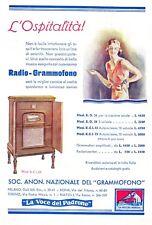 PUBBLICITA'1932 LA VOCE DEL PADRONE RADIO GRAMMONO MODELLI R.E.I.75 AUTOINCISORE
