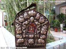 Tibet Buddhism Copper Silver Gilt Dragon Buddha Shrine TangKa Shrines Gawu Box