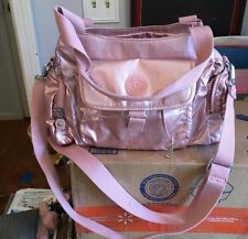 ROSE GOLD Kipling Rose gold metallic Fairfax satchel