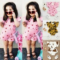 Newborn Baby Girls Kids Printed Short Sleeve Romper Bodysuit Outfit Clothes