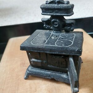 """Vintage Cast Iron Dot Miniature Cook Stove 4 3/8"""" Tall Coin Bank Doll Furniture"""