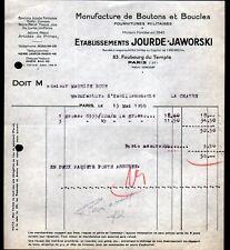 """PARIS (X°) USINE de BOUTONS & BOUCLES MILITAIRES """"JOURDE & JAWORSKI"""" en 1936"""