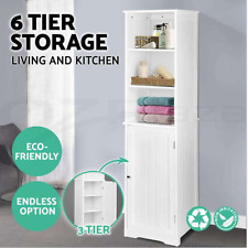 6 Tier Bathroom Tallboy Furniture Storage Cabinet Laundry Cupboard Tall Boy