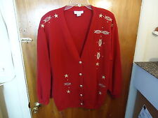 Womens Adolfo Sport Size M Red Long Sleeve Button Down Sweater With Designs