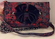 Betsey Johnson Crimson Red Leather Handbag Cross Body Convertible Clutch NWT