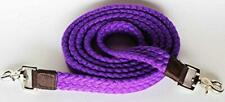 WESTERN HORSE PURPLE COTTON ROPING REINS W/SNAPS CONTEST OR RODEO, BARREL RACING
