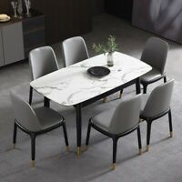 "Modern 55"" to 71"" Extendable Dining Table Rectangular Faux Marble Top Black Legs"