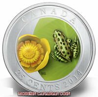 CANADA 25¢  COLOURED COIN: WATER LILY AND LEOPARD FROG - 2014