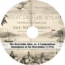 1775 West Indies Atlas Maps - West Indian Charts Surveys History Book on CD