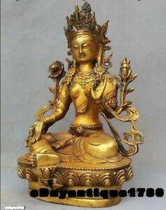 old Tibet gilt Bronze green tara GuanYin Bodhisattva Buddha statue Sakyamuni