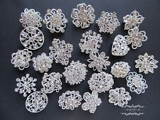 Lot 24 Mixed Brooch Silver Pin Wholesale Rhinestone Crystal Wedding Bouquet DIY